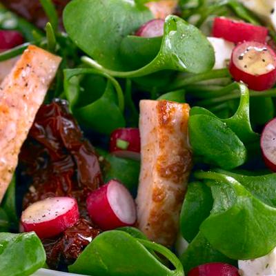 Gemischter-Blattsalat-mit-Haehnchen-und-Radieschen