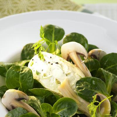 Feldsalat-mit-Champignons-und-Frischkaesenocken