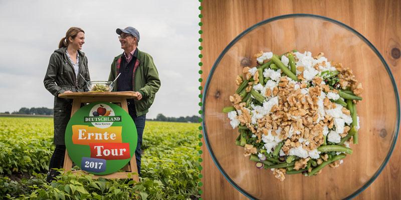 Bohnensalat am Ernte-Tour-Tisch, von und mit Johanna Boklage (Mählmann Gemüseanbau)