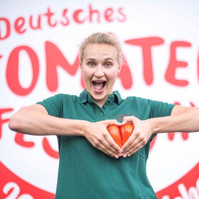 Besucherin auf dem ersten Deutschen Tomatenfestival
